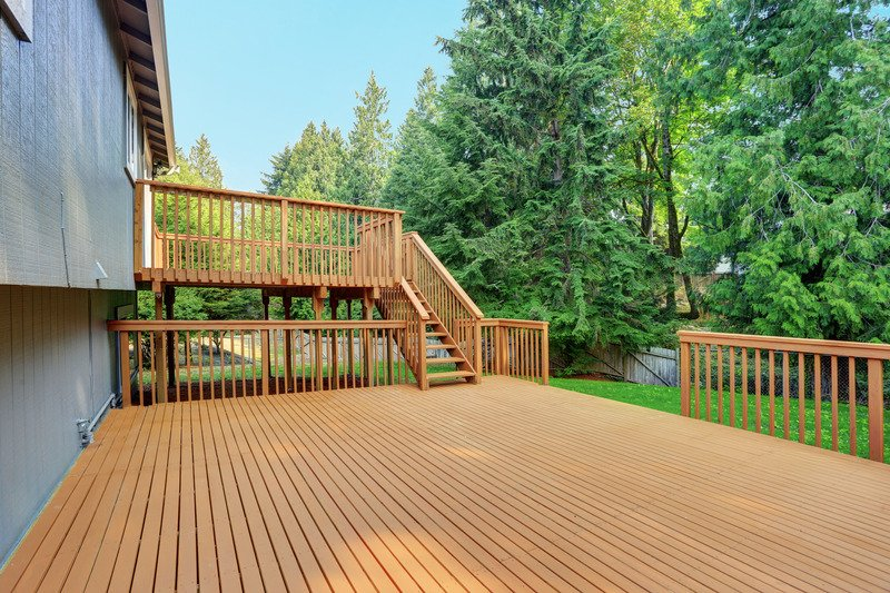 Large wooden deck and large steps in the backyard - Mornington Vic